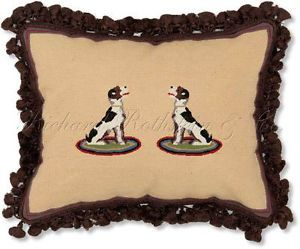 Hounds Decorative Dog Needlepoint Throw Pillow