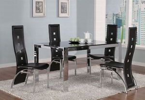 Modern Glass Metal Table Black Leatherette Chairs Dining Room Furniture Set