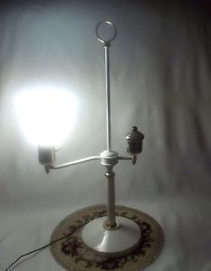 "25"" Student Desk Table Lamp Ivory with Milk Glass Shade"