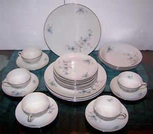 Royal Heiden China Dinnerware Set Czech Blue Pink White Plates Cups Bowl Vintage
