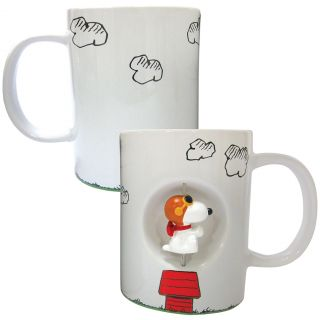 New Peanuts Snoopy Flying Ace Spinner Coffee Mug Fun Ceramic Kitchen Drinkware
