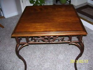 Accent Table Wood and Metal End Table Iron Base