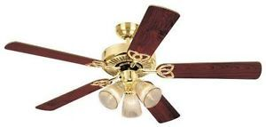 Westinghouse 78043 Vintage Three Light 52 inch Five Blade Ceiling Fan Polished