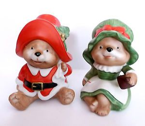 2 Homco Porcelain Christmas Teddy Bear Figurines 5600