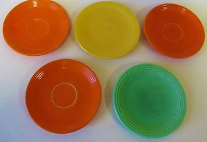 Vintage Fiesta Ware Lot of 5 Original Colors Red Yellow Light Green