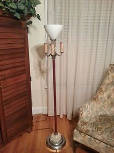 Vidntage Antique Art Deco Torchiere Floor Lamp Lighted Base Waffel Lamp Shade