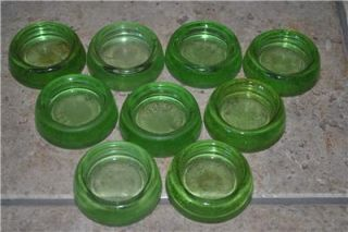 Lot 9 Green Glass Depression Era Furniture Coasters