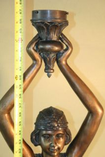 Art Deco Bronze Lady Torchiere Floor Lamp Chiparus