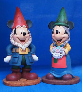 Disney Mickey Minnie Mouse Garden Gnome Figurine Statue Set