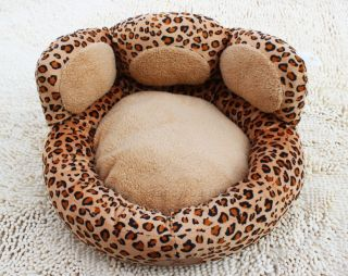 Cute Brown Leopard Print Paw Shaped Pet Dog Cat Sofa Bed House Cat Bed Small