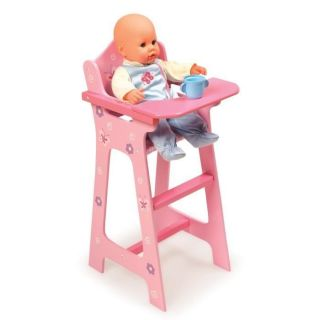 Blossoms Butterflies Wooden Pink Doll High Chair Kids Baby Doll Furniture