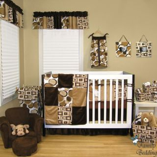 Baby Boy Girl Neutral Unisex Brown Modern Dot Crib Nursery Bedding Quilt Bed Set