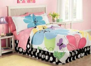 Flower Power 6pc Twin Comforter Bed Set Teen Girl Candy Pink Purple Bedding