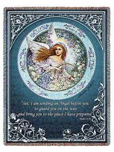 Religious Guardian Angel Heavenly Memorial Tapestry Throw Afghan Blanket