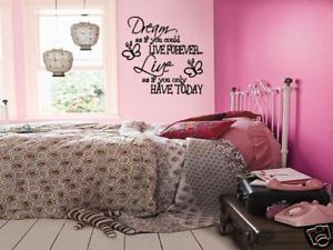 Dream Live Girls Teen Bedroom Vinyl Wall Art Decal Sticker Lettering Words 36""