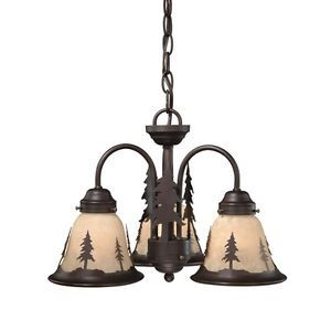 New 3 Light Rustic Tree Chandelier Fixture or Ceiling Fan Lighting Kit Bronze