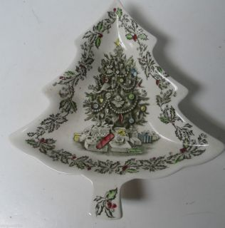 Old Johnson Bros Christmas Tree Shaped Dish in Merry Christmas Pattern