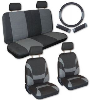 Grey Black Faux Leather Xtreme Car Seat Covers Free Accessories Y