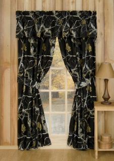 Realtree AP Black Camouflage Window Curtains Camo Drapes