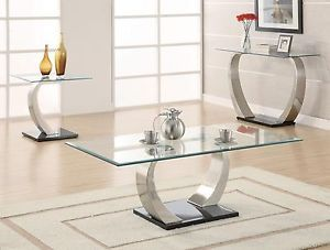 3 PC Modern Glass Top Coffee Table End Tables and Sofa Table Set ZCF701237