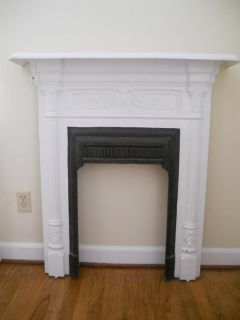 Antique Victorian Cast Iron Fireplace Surround Mantel Floral and Column Design