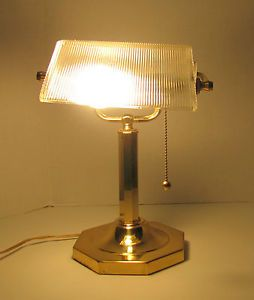 "Vintage Brass Portable Desk Lamp Adjustable Glass Pull Chain 13 5"" Taiwan"