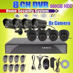 On Sale 8 Channel Security CCTV DVR System 4 Indoor Outdoor Camera Kit 500GB HDD