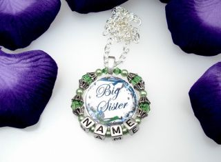 Little Middle Big Sister Personalized Name Charm Necklace Jewelry Custom Gift
