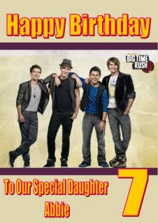 Personalised Big Time Rush Birthday Card 2 Sizes Available A5 and A4