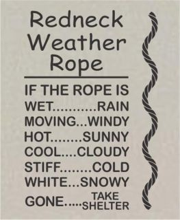 Redneck Weather Rope Vinyl Wall Art Decal Sticker Mural Home Decor