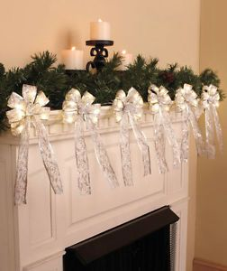 Six Silver Bow Lighted Garland 10 Feet Long Drap Mantel Windows Christmas Trees