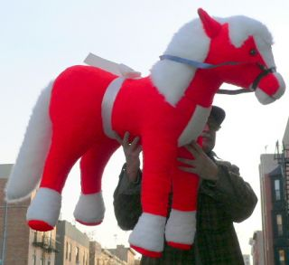 Giant Stuffed Pony Red Color 3 Feet Tall Long Big Plush Horse Made in The USA