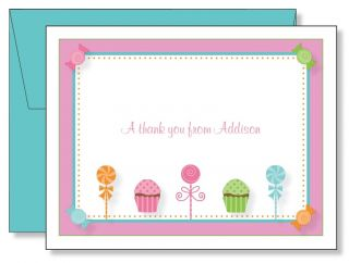 Custom Personalized Candy Lollipop Cupcake Thank You Note Cards