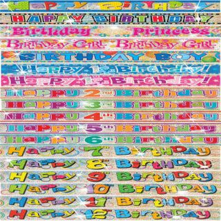 9ft Long Happy Birthday Party Congratulations Age Banners Flags Decorations