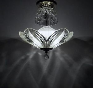 Vintage Semi Flush Mount Ceiling Light Fixture Art Deco Style Glass Chandelier