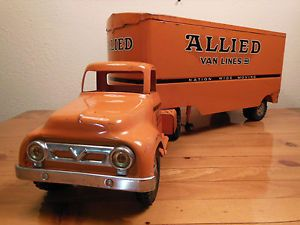 50'Stonka Allied Van Lines Ford Semi Truck and Trailer Original 2 Feet Long