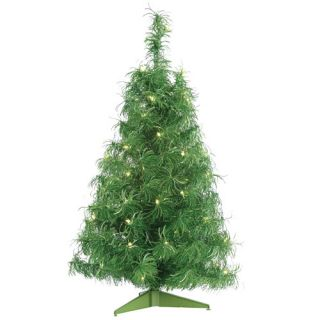 3' Pre Lit Green Iridescent Curly Tinsel Artificial Christmas Tree Green Lights