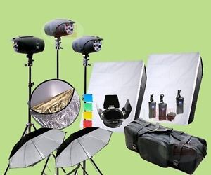 1200W Studio Strobe Flash Lighting Kit 400W x 3 Light Wireless 1K2