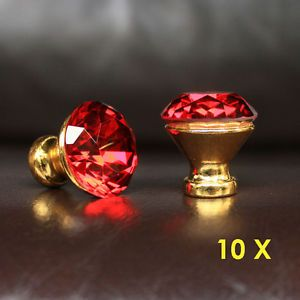 10 Pcs Red Crystal Glass Drawer Knobs Golden Base Cabinet Handle Pulls