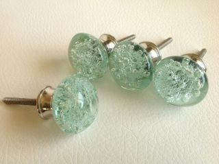 Mint Green Glass Bubble Cabinet Knobs Drawer Pulls Set of 4