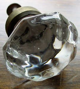 2 Vintage Crystal Glass Cabinet Dresser Drawer Pulls Knobs Antique Hardware