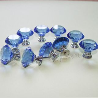 Lot of 10 Blue Crystal Glass Drawer Pull Cabinet Knob Kitchen Handle 30mm