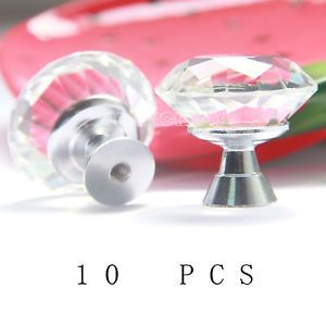 10pcs Clear 30mm Diamond Crystal Glass Pull Handle Cabinet Furniture Door Knob