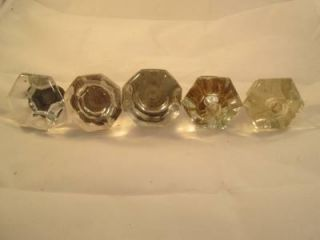 Antique Vintage Art Deco Clear Glass Crystal Door Cabinet Knobs Hardware Lot