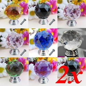 2pc Crystal Glass Diamond Door Knob Pull Drawer Cabinet Kitchen Handle Wardrobe