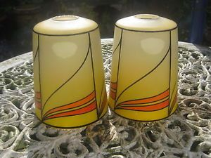 Pair of Art Deco Glass Lamp Shades Very Stylish Orange Yellow Black