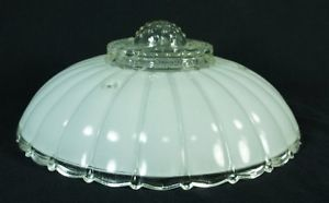 "Vintage Art Deco 3 Chain Pressed Glass Hanging Light Lamp Shade 11"" White Clear"