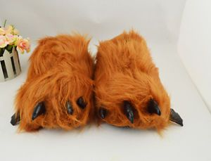 Adult Monster Big Foot Feet Bear Long Hair Gorillo Paw Party Animal Slippers