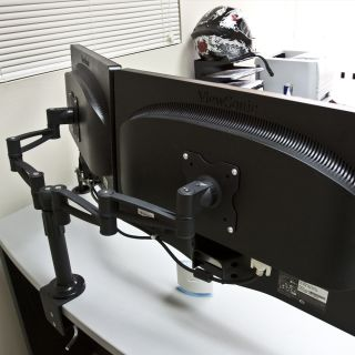 Dual LCD Screen Rotating Double Swivel Monitor Desk Arm Mount 2 Screen Up to 25""