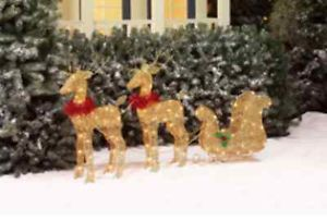 Reindeer with Sleigh Christmas Indoor Outdoor Decor Lawn Ornament Light Up Sale